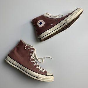 Saddle purpleish brown high top converse